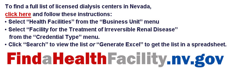 Graphic with hyperlink and instructions to find licensed dialysis centers in Nevada