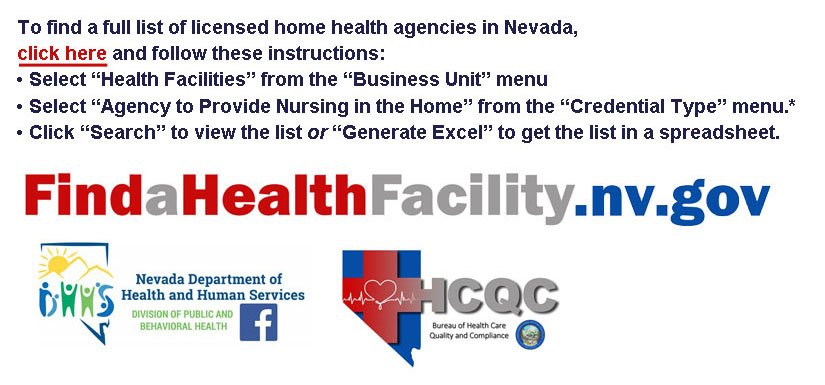 Link to web page and instructions to locate licensed Home Health Agencies in Nevada