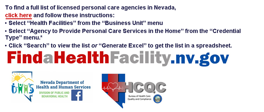 Hyperlink to Nevada Department of Health and Human Services health facility locator