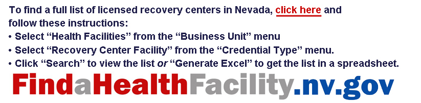 Instructions for using and hyperlink to the State of Nevada health facility online locator